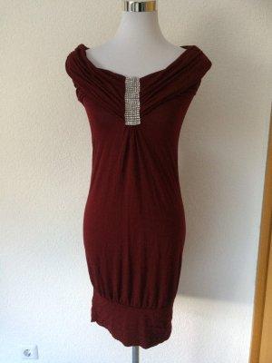 weinrotes / rotes Kleid mit Glitzersteinen am Ausschnitt - Gr. S