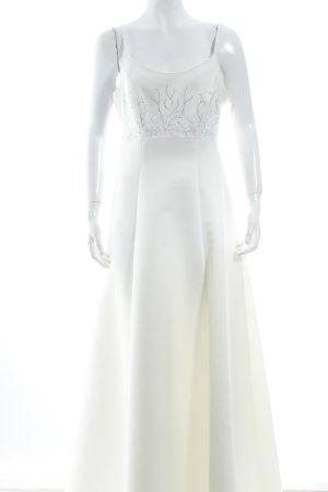 Weise Brautkleid wollweiß florales Muster Eleganz-Look