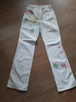 Weise Hose mit Blumendruck von Cambio