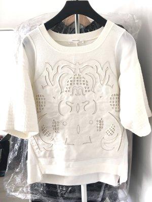 Weiser Shirt mit schöne Kunst Leder an der Vorner