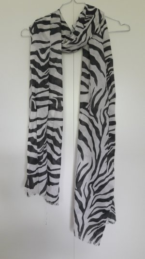 Weiß-anthrazit gemusterter leichter Schal Animalprint Zebra