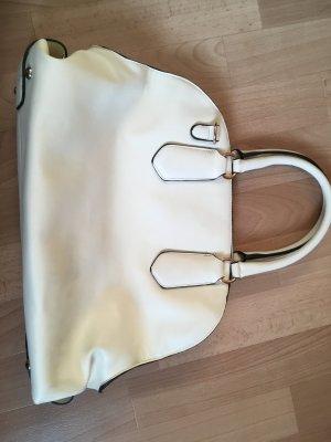 Weiß/ Beigefarbene Handtasche