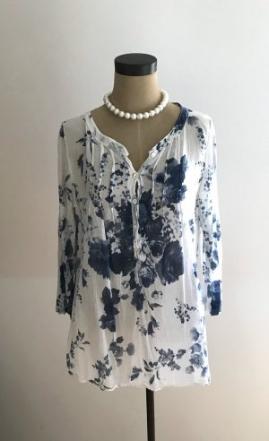 Crash Blouse white-dark blue cotton