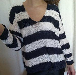 Weiß-blau gestreifter H&M Pullover Gr. XS
