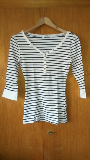Clockhouse V-hals shirt wit-donkerblauw Katoen
