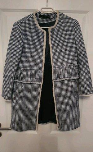 Zara Knitted Coat white-blue