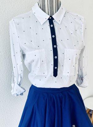 Weiß/ blaue langarm Bluse mit Kragen von Zara Gr. M