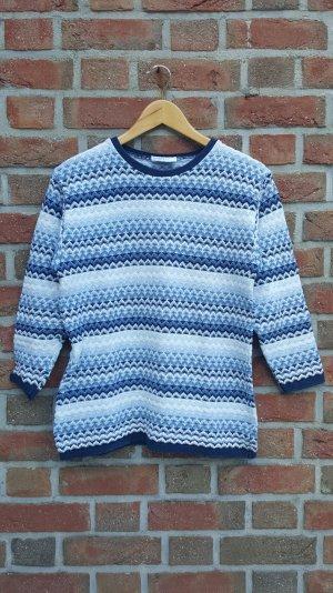 Weiß- blauer Norweger Pullover