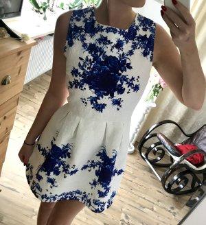 Robe ballon blanc-bleu