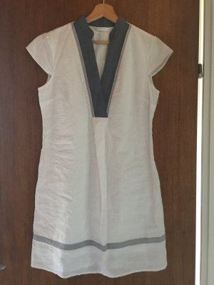 weiß, blaues Kleid Promod, mit Reißverschluss an der Seite