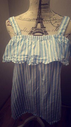 Weiß-Blaues Sommerkleid Leinen Volant Streifen Pastell Kleid Minikleid