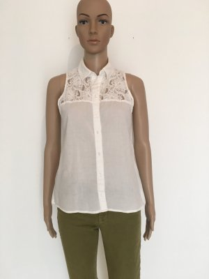 Weiß Bluse ärmellos Sommer Spitze feminin klassisch elegant
