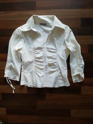 Weiß Bluse mit süßer Raffung