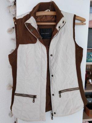Weiß braune Weste von Zara, Gr. S