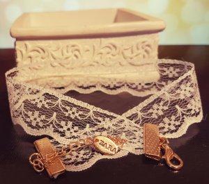 Weiß Choker, Stoffkette, Rüschen, gold, Zara, elegant, Blogger, Neu