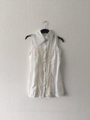 Weiß creme Bluse ärmellos Spitze M