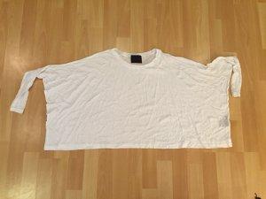 Weiss crop Hemd 3/4 sleeves