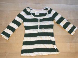 H&M Camisa de rayas blanco-verde oscuro Algodón