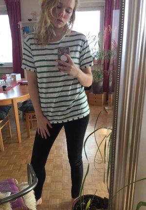 weiß/dunkelgrün gestreiftes oversize T-Shirt von Jack&Jones L