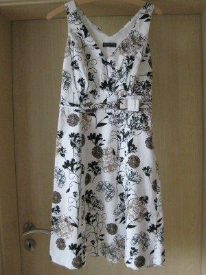weiß, floralgemustertes, ärmelloses Kleid von Blind Date Gr. 34 Empirelinie
