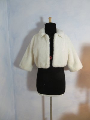 Weiß Fluffy Fake Fur Jacke Jackie O. Chunky Cropped 50s 60s Vintage Oversize S M L Kunstfell Mantel