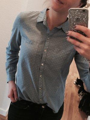 Weiß Gepunktete Jacke*s Bluse in Taubenblau