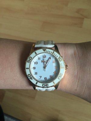 Weiß-goldene Uhr in super Zustand