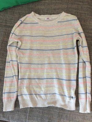 weiß/gräulicher Pullover mit Neonfarben Gr:38