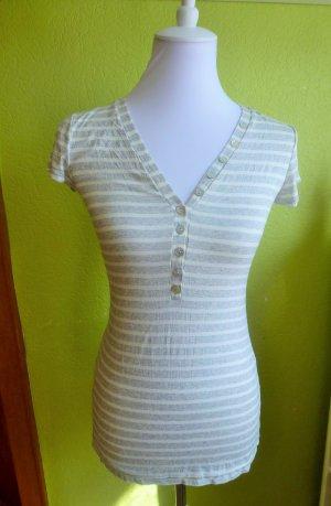 Weiß-Grau gestreiftes T-Shirt von Made in Itary, Gr. S