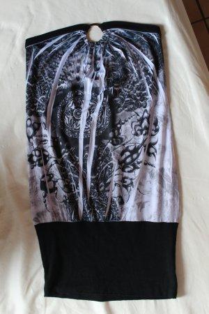 Weiß grau schwarzes Stretch Kleid mit Muster Gr. S/M