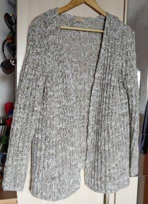 Weiß graubraune Strick Jacke / Cardigan von Corley Gr. 36/38