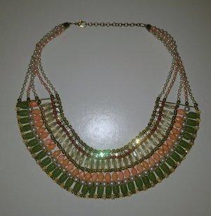Weiss/Grün/Apricot Perlenkette