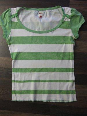 weiß-grün gestreiftes Only T-Shirt