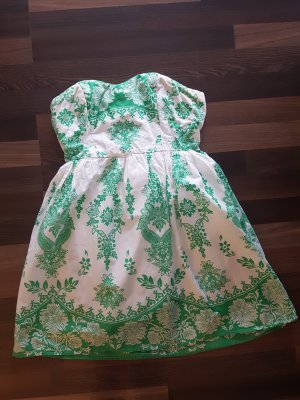 Forever 21 Vestido bandeau blanco-verde