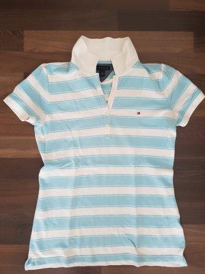 Weiß hellblau gestreiftes Tommy Hilfiger Polo T-Shirt