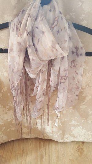 Weiß lila-rosa Tuch mit Fransen