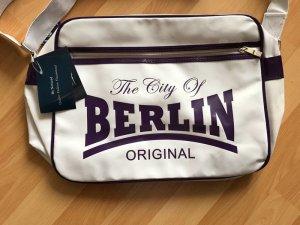 Crossbody bag white-lilac imitation leather