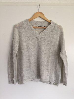 Weiß melierter Pullover mit V-Ausschnitt