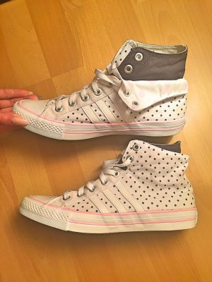 Weiß/rosa/dunkelblau gepunktete Adidas Sneakers 40/41