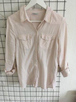 Weiß-Rosa gestreifte Bluse