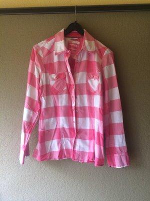Weiß rosa karierte Bluse in Größe 40 mit Druckknöpfen