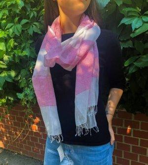 Weiß- rosa Schal, Leicht, Herbst- Frühlingsschal