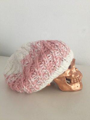 weiß/rosa wollmütze