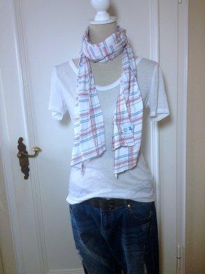 weiß - rot - blauer Schal