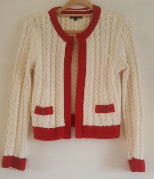 River Island Gilet tricoté blanc-rouge tissu mixte