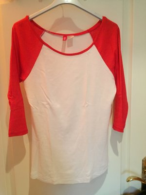 weiß-rotes Baseballshirt