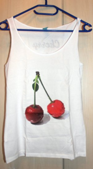 Weiß rotes Cherry Lady Top Gr. S von Spread Shirt