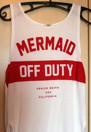 "Weiß-rotes ""Mermaid off duty"" Top, Gr. S"