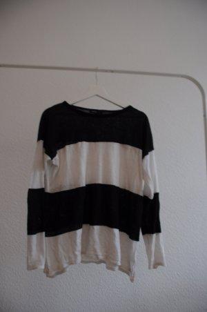 Weiß-Schwarz gestreifter Pullover / Flattriger Schnitt