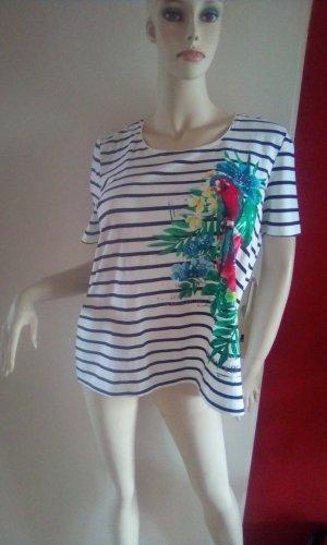 Weiß/Schwarz gestreiftes T-Shirt mit Papagei und Steinchen Gr.L-C&A